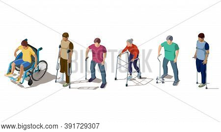 Isometric People With Leg Injuries, Crack Or Break Of Bones, Spine, Fracture Of Foot, Orthopedic Pro
