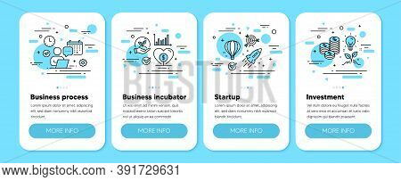Business Incubator, Invest Money Strategy, Flexible Job Line Icons. Business Startup, Hire Employee,