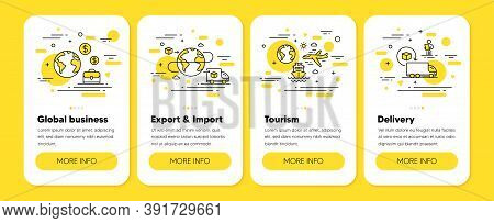 International Business, Export, Import Line Icons. Global Trading, Delivery Service, Return Package.