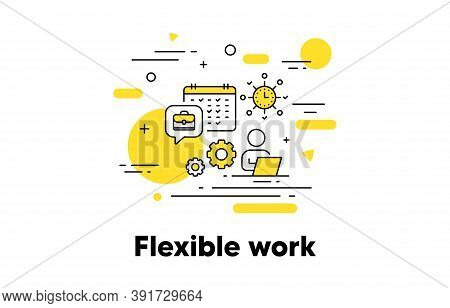 Flexible Job Line Icon. Hire Employee Concept Illustration. Job Recruitment. Work Schedule Timetable