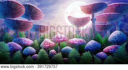 Fantastic Wonderland Landscape With Mushrooms And Moon. Illustration