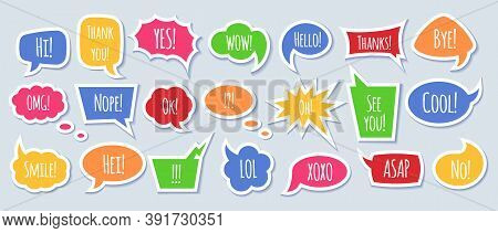 Paper Speech Bubble With Phrases - Colorful Cartoon Comic Bubbles And Clouds.