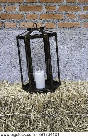 Black Lantern With Aroma Candle Decoration, Stock Photo