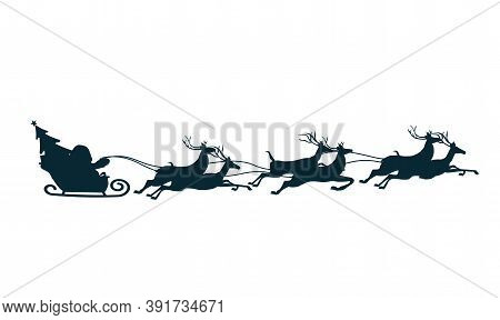 Silhouette Of Santa Claus On Sleigh Full Of Gifts And His Reindeers. Happy New Year Decoration. Merr