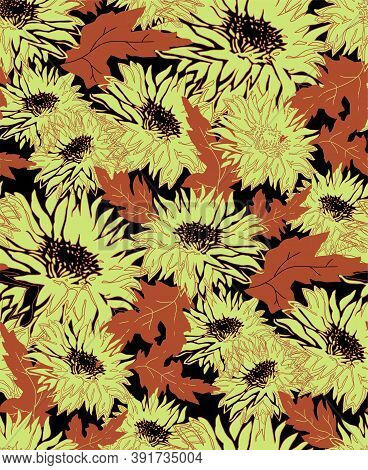 Autumn Chrysanthemum Flowers In Full Bloom. Contour And Silhouette Freehand Floral Ornate Vector. Se