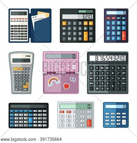 Realistic Calculators Set. Educational Math With Notes In Case Shopping Large Buttons Easy Calculati