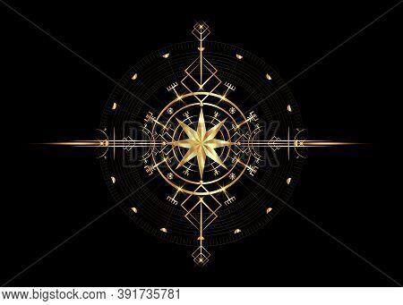 Magic Ancient Viking Art Deco, Wind Rose Magic Navigation Compass Ancient. Gold Compass Navigation D