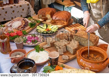 Table Filled With Starters, Appetizers And Snacks, Food For A Feast Celebration, Lithuanian Or North