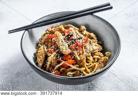 Udon Stir-fry Noodles With Chicken Meat And Sesame. Gray Background. Top View