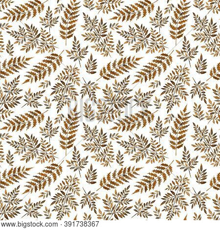 Autumn Floral Seamless Pattern, Ocher Color Fern. Watercolor Forest Wild Leaves. Hand Drawn Illustra