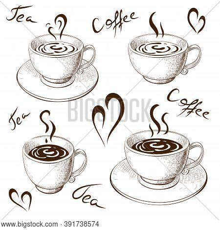 Cups Of Coffee Or Tea With Saucer And Lettering Isolated On White. Coffee Love Hand Drawn Sketch. En
