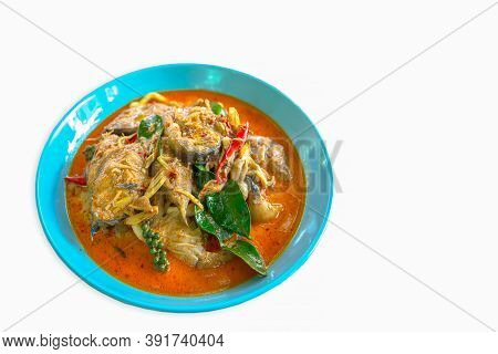 Spicy Stir Fried Catfish Curry With Herb On Plate