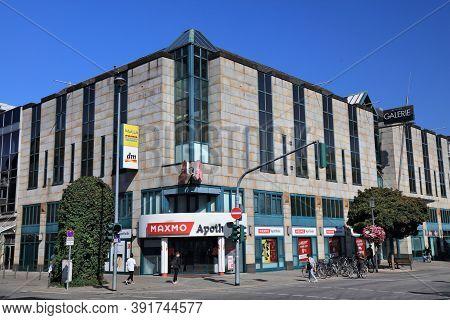 Moenchengladbach, Germany - September 18, 2020: People Visit Shopping Area In Rheydt District Of Moe
