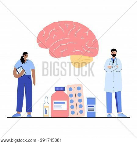 Brain Logo For Neurology Clinic. Doctor Appointment And Laboratory Research. Sensation, Intellectual