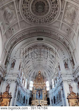 Munich, Germany - June 28, 2019: Interior Of St. Michaels Church In Munich. St Michael Is A Jesuit C