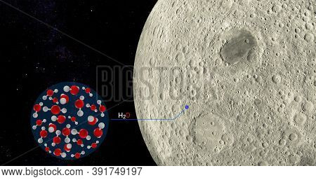 3d Illustration Sofia Found Water On The Surface Of The Moon, Surface Rash Of The Moon Contains Larg