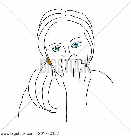 Face Of A Beautiful Allergic Woman, Sketch. The Face Of A Beautiful Allergic Woman, Sketch. Girl Cov