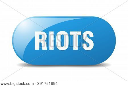 Riots Button. Sticker. Banner. Rounded Glass Sign