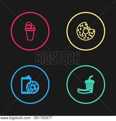 Set Line Aluminum Can Soda And Donut, Soda Hotdog, Donut And Ice Cream Icon. Vector