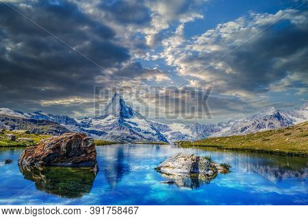 Stunning Panorama With Matterhorn And Beautiful Alpine Lake, Stellisee, Valais Region, Switzerland,