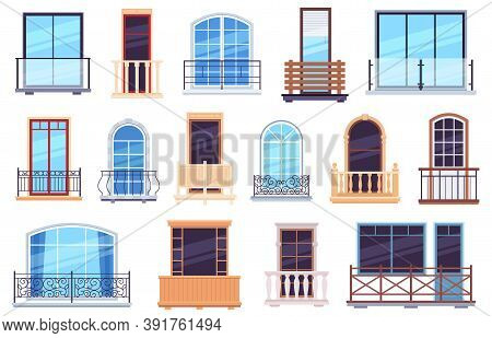 Windows And Balconies. Architecture House Facade With Modern And Classic Balcony Doors, Casement Fra