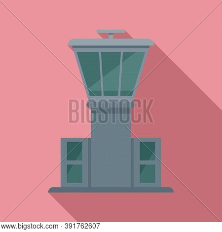 Airport Tower Icon. Flat Illustration Of Airport Tower Vector Icon For Web Design