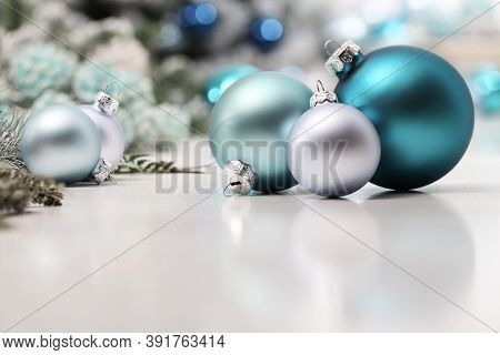 Merry Christmas Background, Silver And Blue Christmas Balls And Decorations On White Table, Useful A