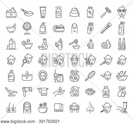 Beautician Icons Set. Outline Set Of Beautician Vector Icons For Web Design Isolated On White Backgr