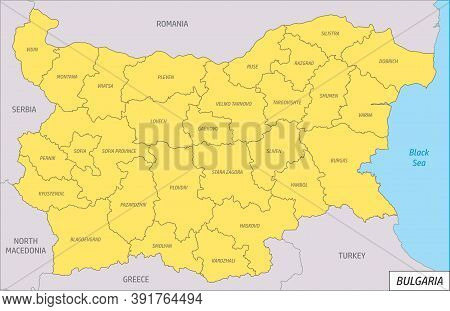 The Bulgaria Clipping Map Divided In Regions With Labels