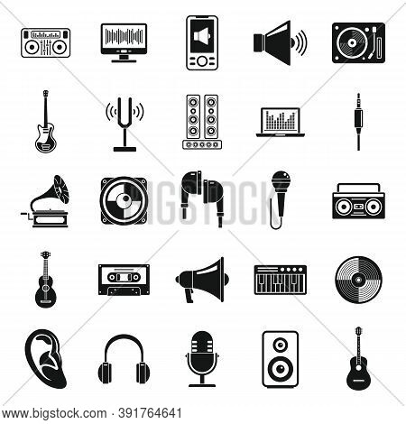 Acoustics Tools Icons Set. Simple Set Of Acoustics Tools Vector Icons For Web Design On White Backgr