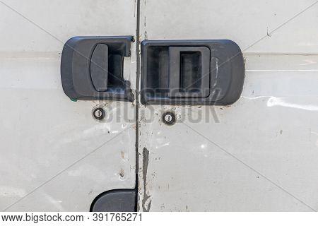 Damaged Door Handles And Locks At Cargo Van Theft