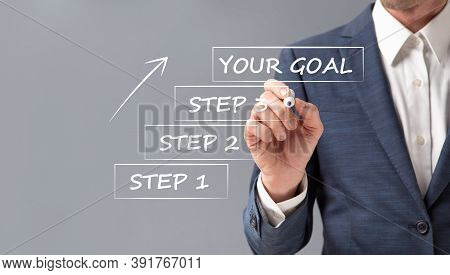 Businessman Setting Goal And Writing Steps To Achieve Business Success Standing Over Gray Background