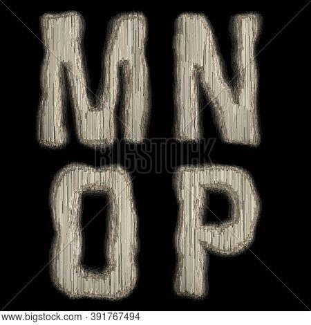 Set of industrial metal alphabet letters M, N, O, P on black background. 3d rendering