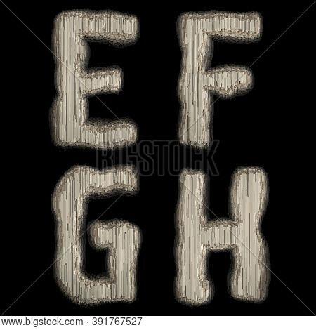 Set of industrial metal alphabet letters E, F, G, H on black background. 3d rendering