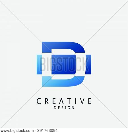 Negative Space Logo D Letter Techno Geometrical, Design Concept Geometric Shape With  Letter D  Logo