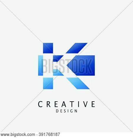 Negative Pace Logo K Letter Techno Geometrical, Design Concept Geometric Shape With  Letter K Logo I