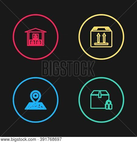 Set Line Placeholder On Map, Locked Package, Cardboard Box With Traffic And Warehouse Icon. Vector