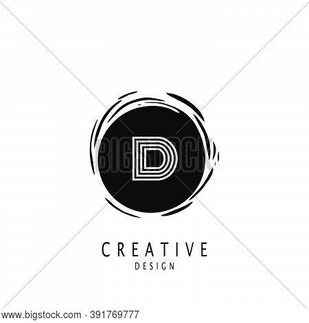 Monogram Circle Sun Letter D Logo. Vector Design Concept Sun Shape With Letter D Logo On Monogram Co