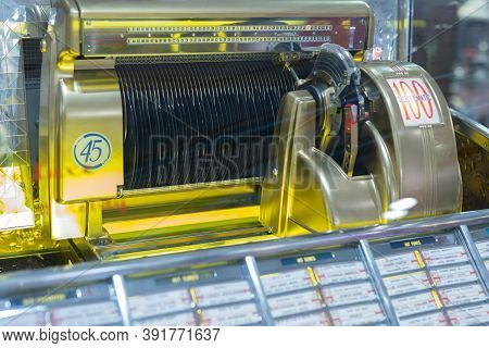 Parma, Italy - September 2020: Details Of Retro Jukebox: Music And Dance In The 1940s Andn1950s.