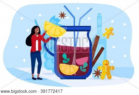 Abstract Illustration Depicting A Tiny Young Beautiful Happy Smiling Girl Drinking Mulled Wine From