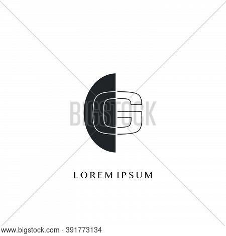 Outline  Letter G Overlap Half Ellipse Polygon Geometric Logo. Monogram Half Ellipse Polygon Geometr