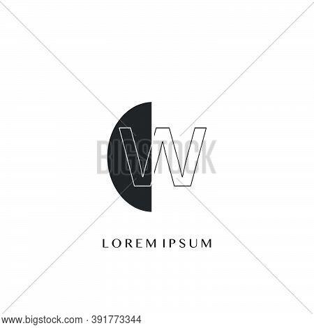 Outline  Letter W  Overlap Half Ellipse Polygon Geometric Logo. Monogram Half Ellipse Polygon Geomet