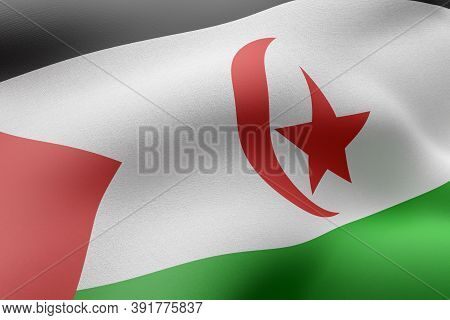 3d Rendering Of A Textured National  Sahrawi Arab Democratic Republic Flag.