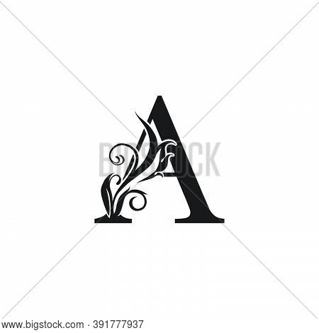 Monogram Luxury Letter A Logo Icon. Simple Luxury Design Concept Floral Leaves With Letter A  Logo I