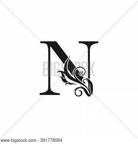 Monogram Luxury Letter N Logo Icon. Simple Luxury Design Concept Floral Leaves With Letter N Logo Ic