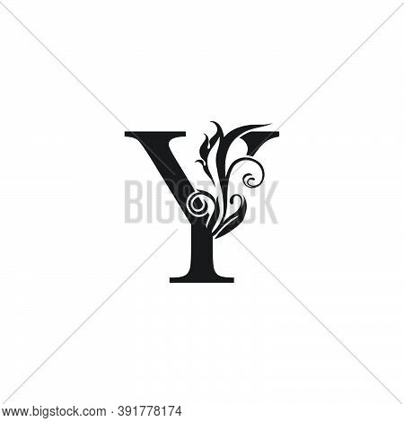 Monogram Luxury Letter  Y Logo Icon. Simple Luxury Design Concept Floral Leaves With Letter Y  Logo