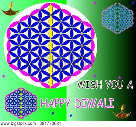Beautiful Diwali Greeting Card Vector Illustration Of Traditional  Colorful Rangolis And Diya With C