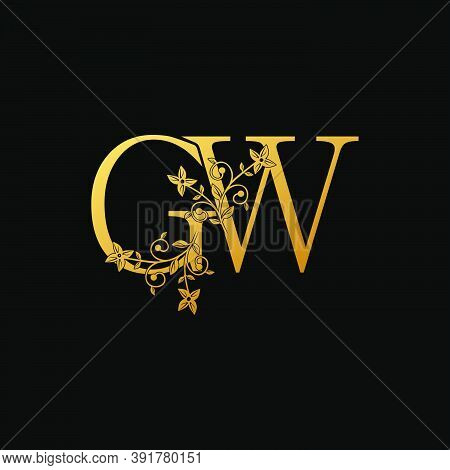 Golden Letter G, V, Gv Luxury  Logo Icon, Vintage Design Concept Floral Leaves With Letter G And V,
