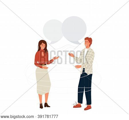 Pair People Talking Vector Background. Young Couple Man And Woman Laughing And Communicate. Speech B