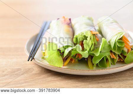 Colorful Fresh Vegetables Salad Spring Roll, Healthy Vegan Food